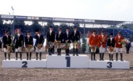 The World Equestrian Games, The Hague, The Netherlands 1994 Eventing teams on the podium: L to R, The French silver medal team.
