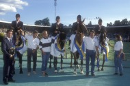 The World Equestrian Games, Stockholm, Sweden, 1990  Showjumping World Champions, the French team, Eric Navet, Pierre Durand, R