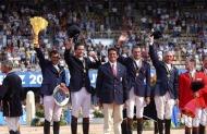 The World Equestrian Games, Jerez, Spain, 2002. The World Champions the FrenchTeamEric Lavallois, Reynald Angot, Giles Bertran