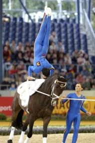 Members of the German vaulting team during the 1st round compulsory test - ©FEI