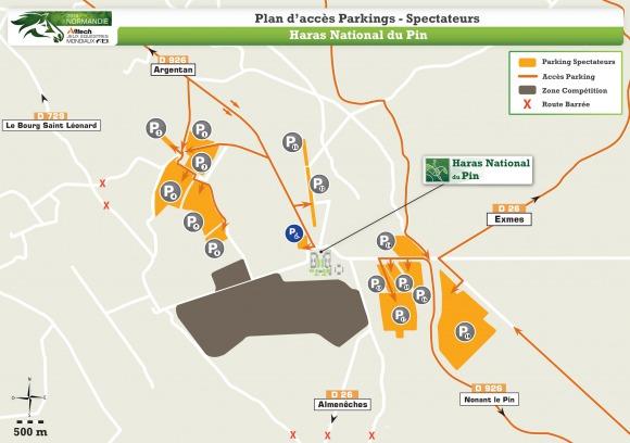 Plan Acc�Parkigs Spectateurs Haras National du Pin