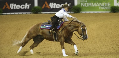 Reining:  At half time Mandy McCutcheon equals Fappani's top score for Team USA
